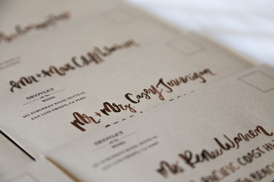 Custom Invitation Suite Design with Brush Lettered Modern Calligraphy Addresses by Amarie Design Co.