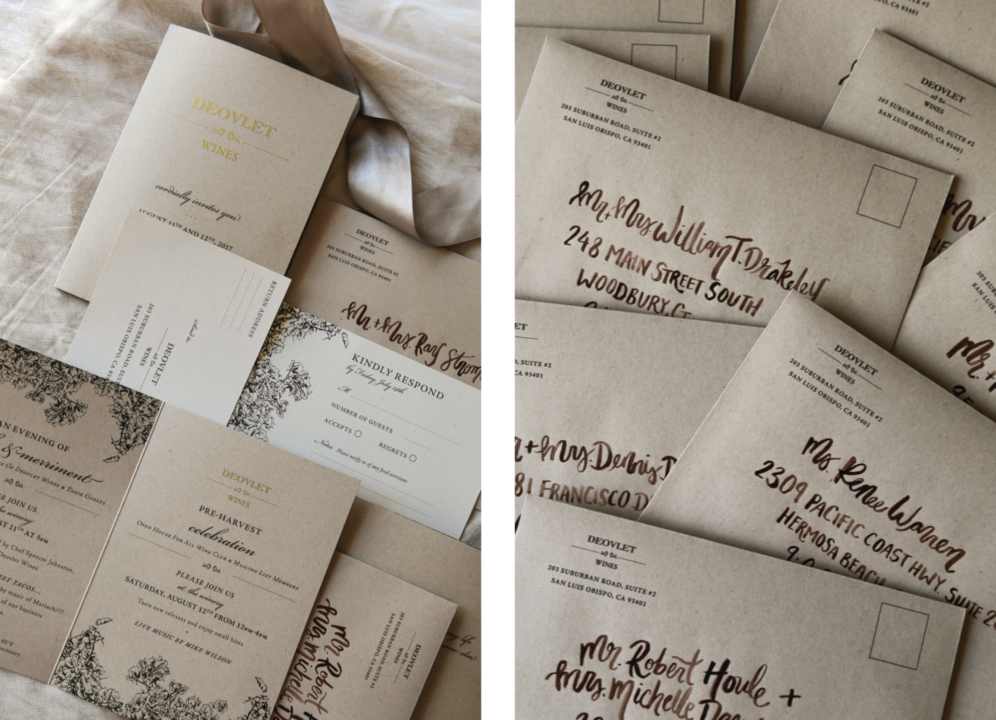 Custom Invitation Suite Design and Modern Calligraphy in San Luis Obispo California by Amarie Design Co.