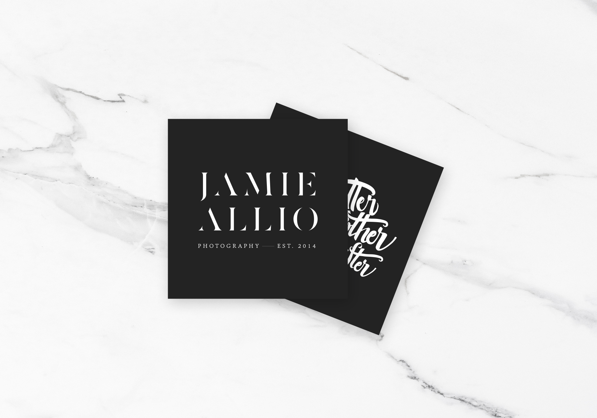 Business Card Design for Brand Identity Design for Photographer Jamie Allio by Amarie Design Co.