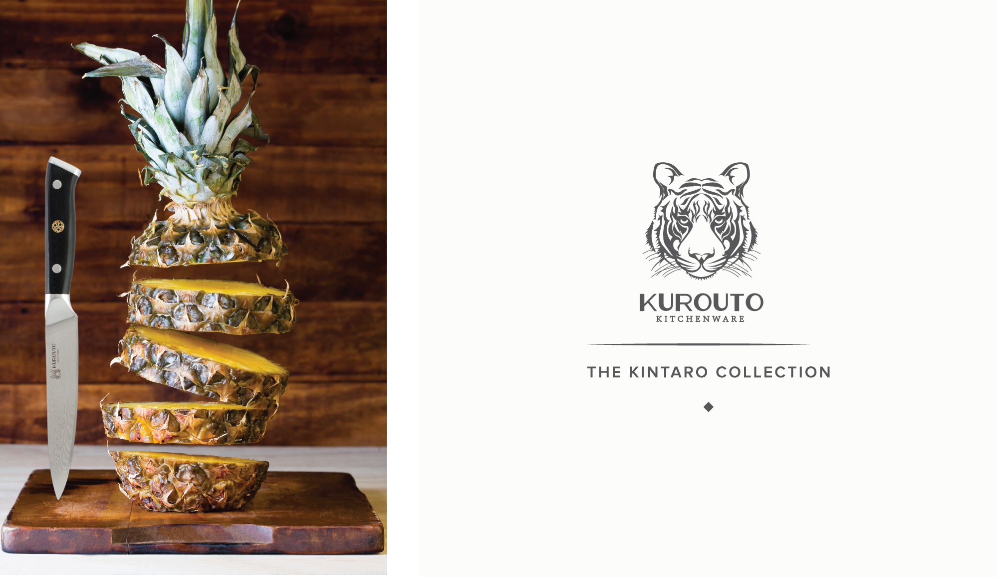 Kurouto Kitchenware Logo and Utility Knife Slicing a Pineapple