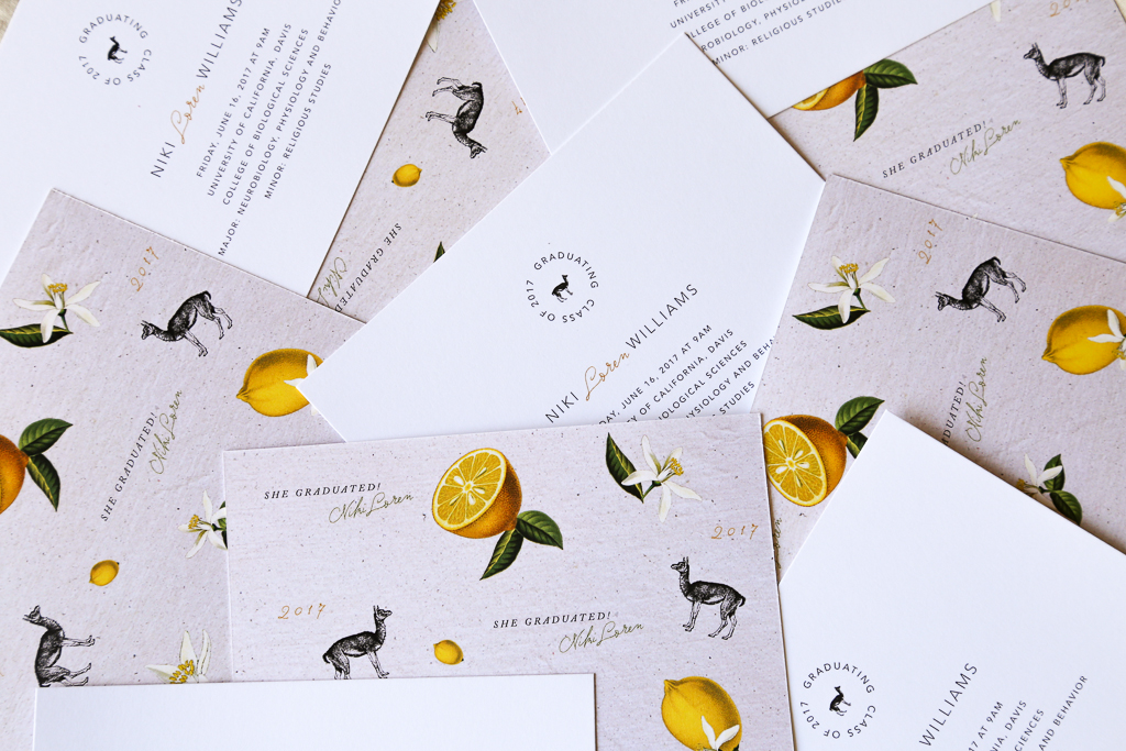 Custom Invitation Design Paper Flatlay of Luxe Stationery Suite for Llamas & Lemons by Amarie Design Co.